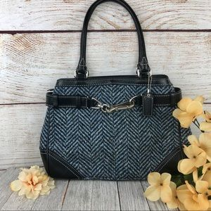 Coach Blue/Black Wool Herringbone Bag